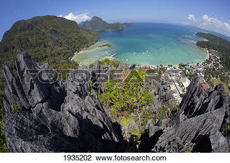 Stock Photo of An Aerial Fisheye View From The Top Of Sharp.