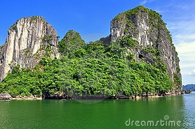 Limestone Mountain, Halong Bay Stock Images.