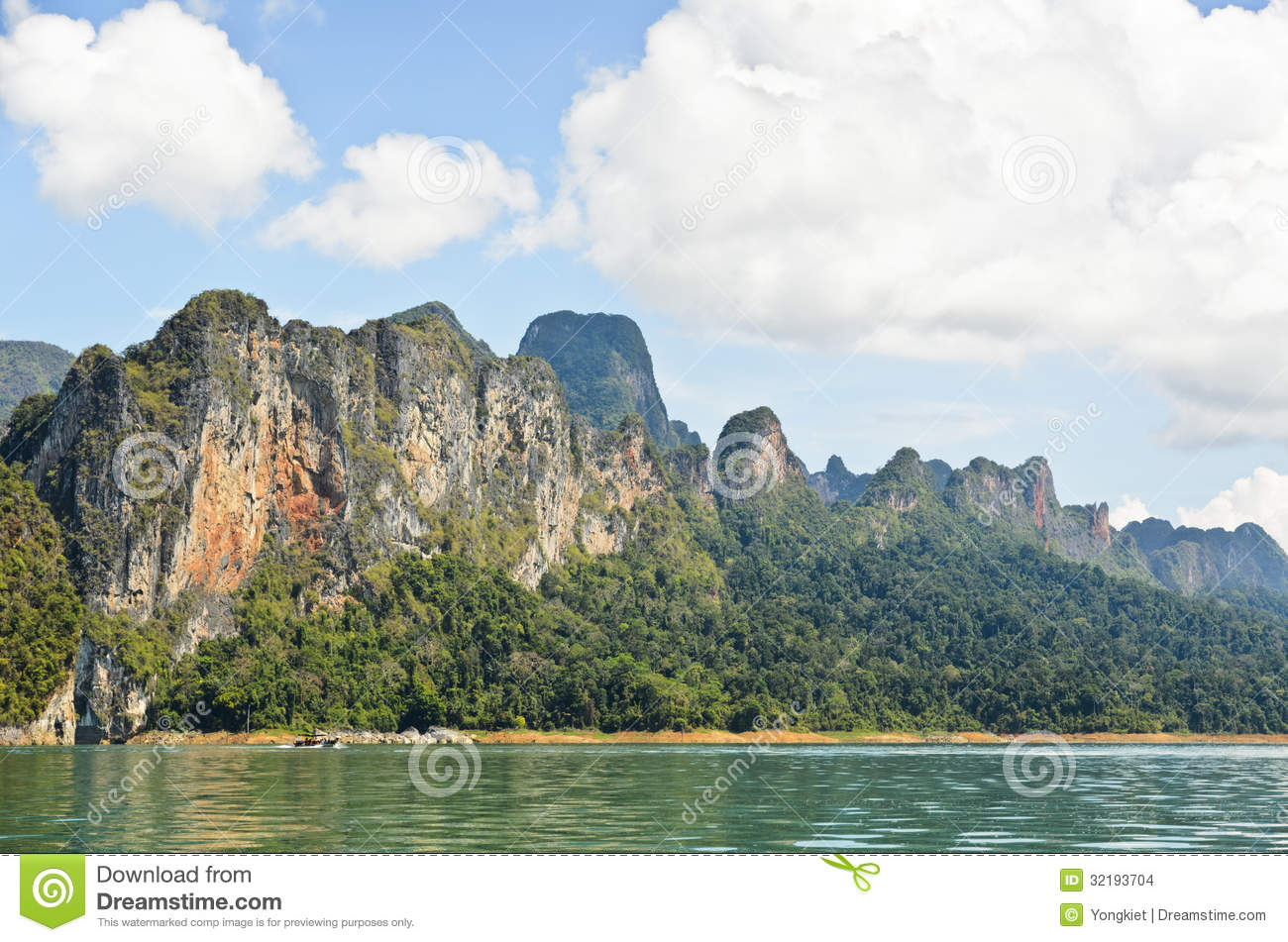 Lush High Limestone Mountains. Stock Images.