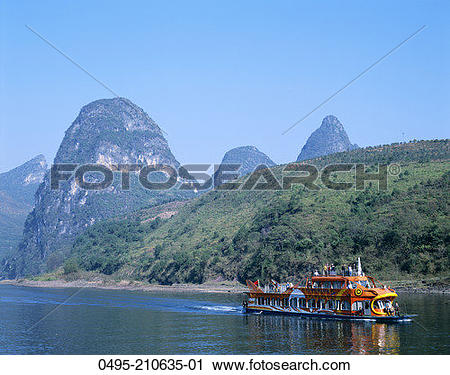Stock Photography of China, Guilin, Yangshou, Guangxi, Li River.