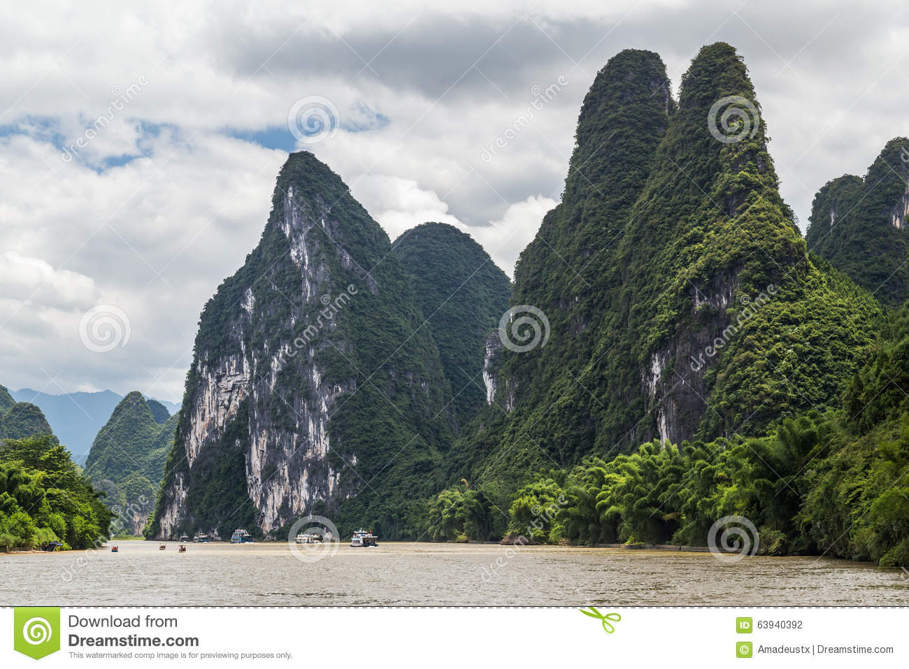 Karst Mountains And Limestone Peaks Of Li River In China Stock.
