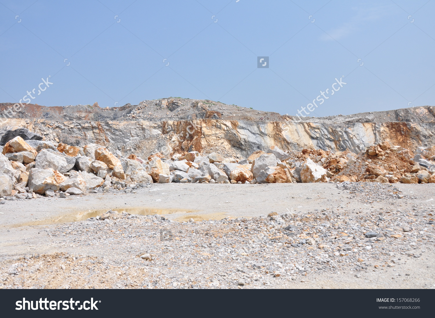 Limestone Quarry, Open Pit Mine In Thailand Stock Photo 157068266.