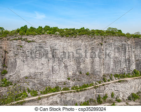 Stock Photo of Limestone wall in quarry Big Amerika, Czech.