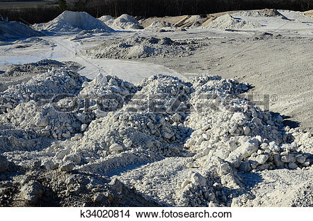 Stock Photo of quarry and many limestones k34020814.