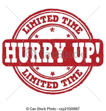 Clip Art Vector of Limited time, hurry up stamp.