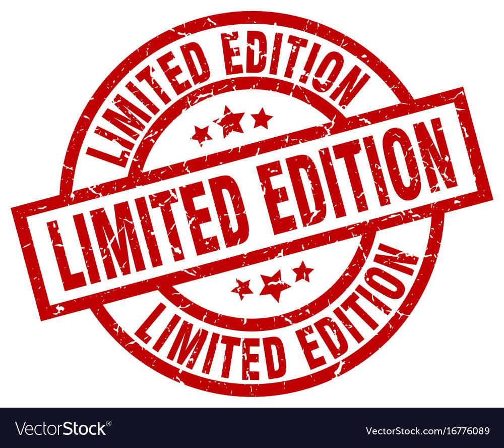 Limited edition round red grunge stamp.
