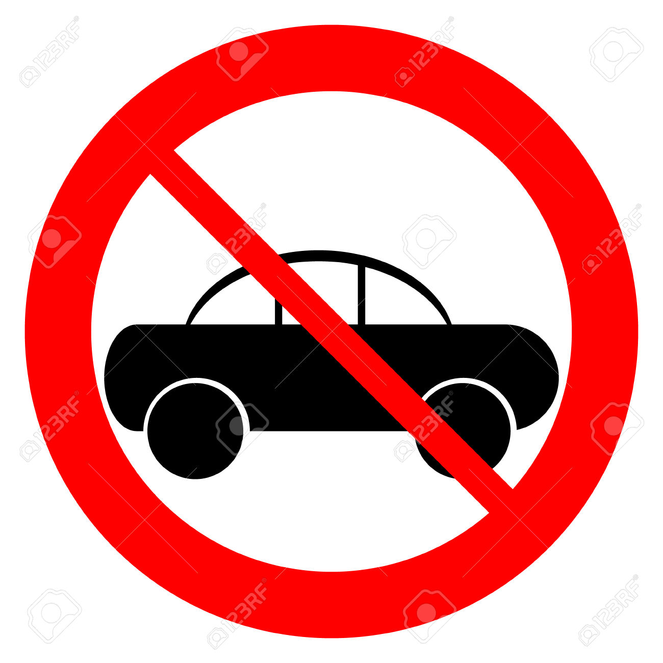 No Parking Sign Icon On White Background Royalty Free Cliparts.