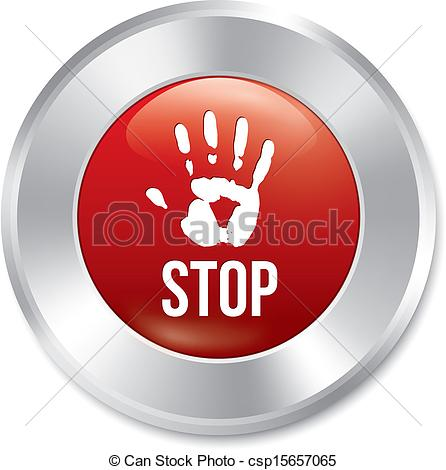 Clip Art Vector of Hand stop button. Age limit red round sticker.