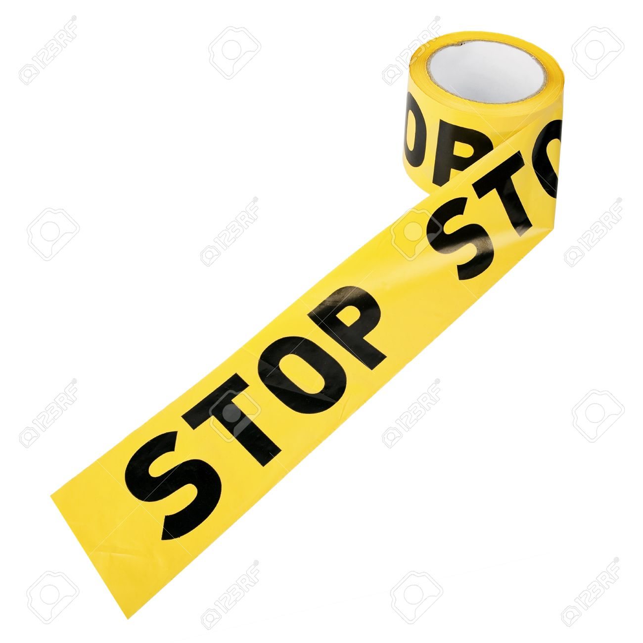 """The Apool Of Yellow Plastic Caution Or Restriction Tape """"STOP."""