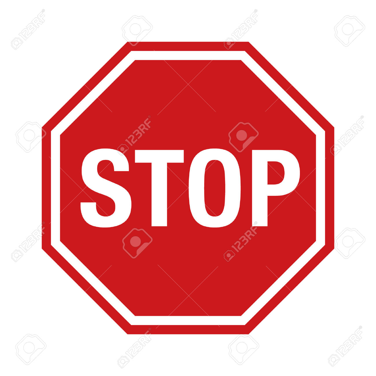 Red Stop Sign Icon With Text Flat Icon For Apps And Websites.
