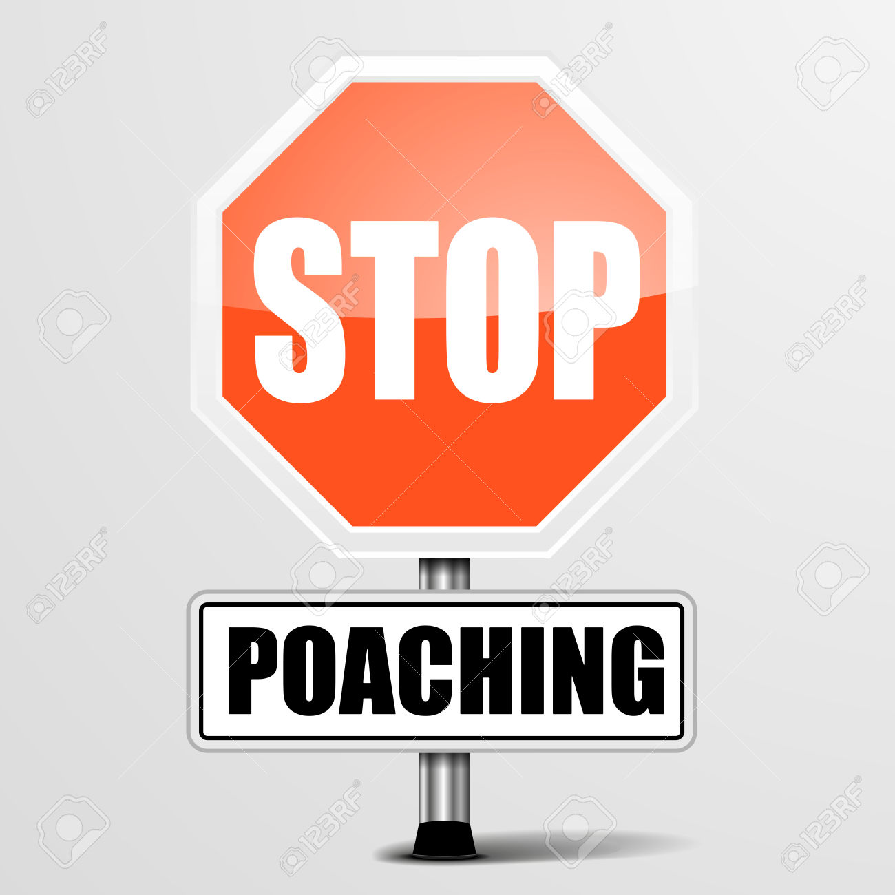 Detailed Illustration Of A Red Stop Poaching Sign, Eps10 Vector.