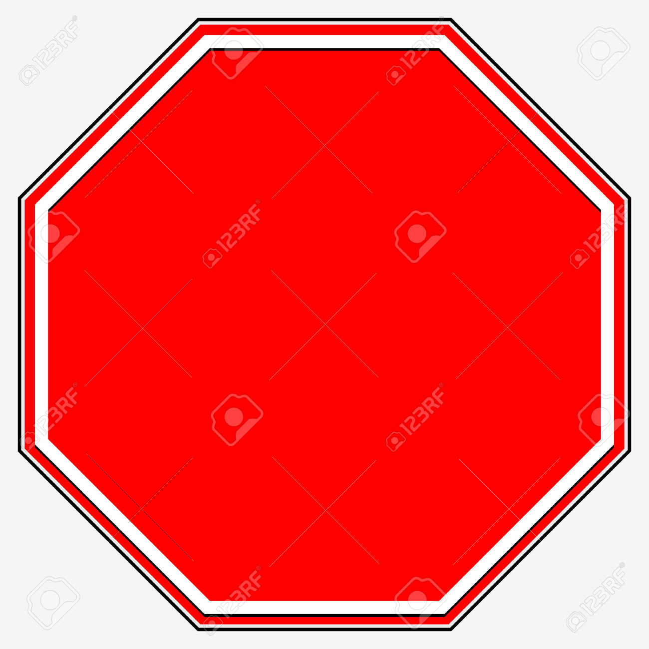 Blank Stop Sign. Blank Red Octagonal Prohibition, Restriction.