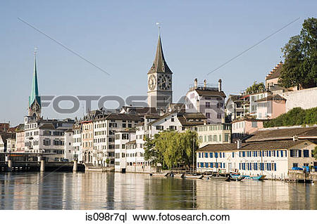 Stock Photo of Architecture and the river limmat in zurich.