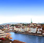 Pictures of View of the embankment and Limmat river in Zurich.