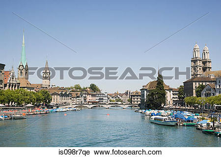 Stock Photography of The river limmat in zurich is098r7qe.