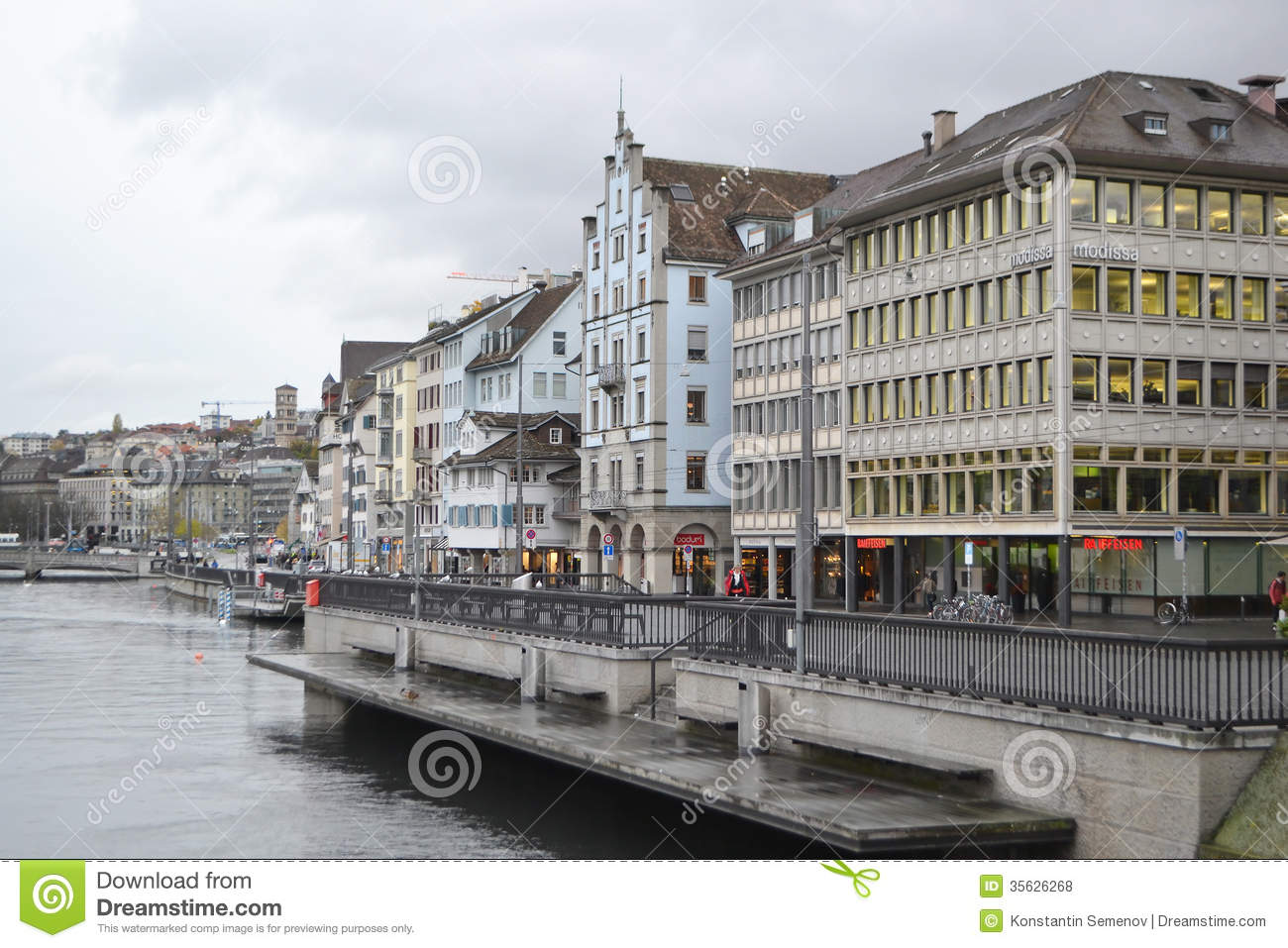 Embankment Of Limmat River In Zurich Editorial Stock Photo.