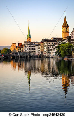 Stock Photos of Zurich old town and Limmat river at sunrise.