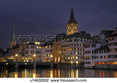 Stock Photo of church, city, downtown, houses, huwiler, large.