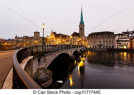 Stock Photo of View of Zurich and Old City Center Reflecting in.