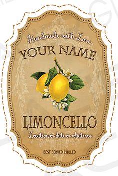 Limoncello Label Customizable Limoncello Bottle Label Limoncello.