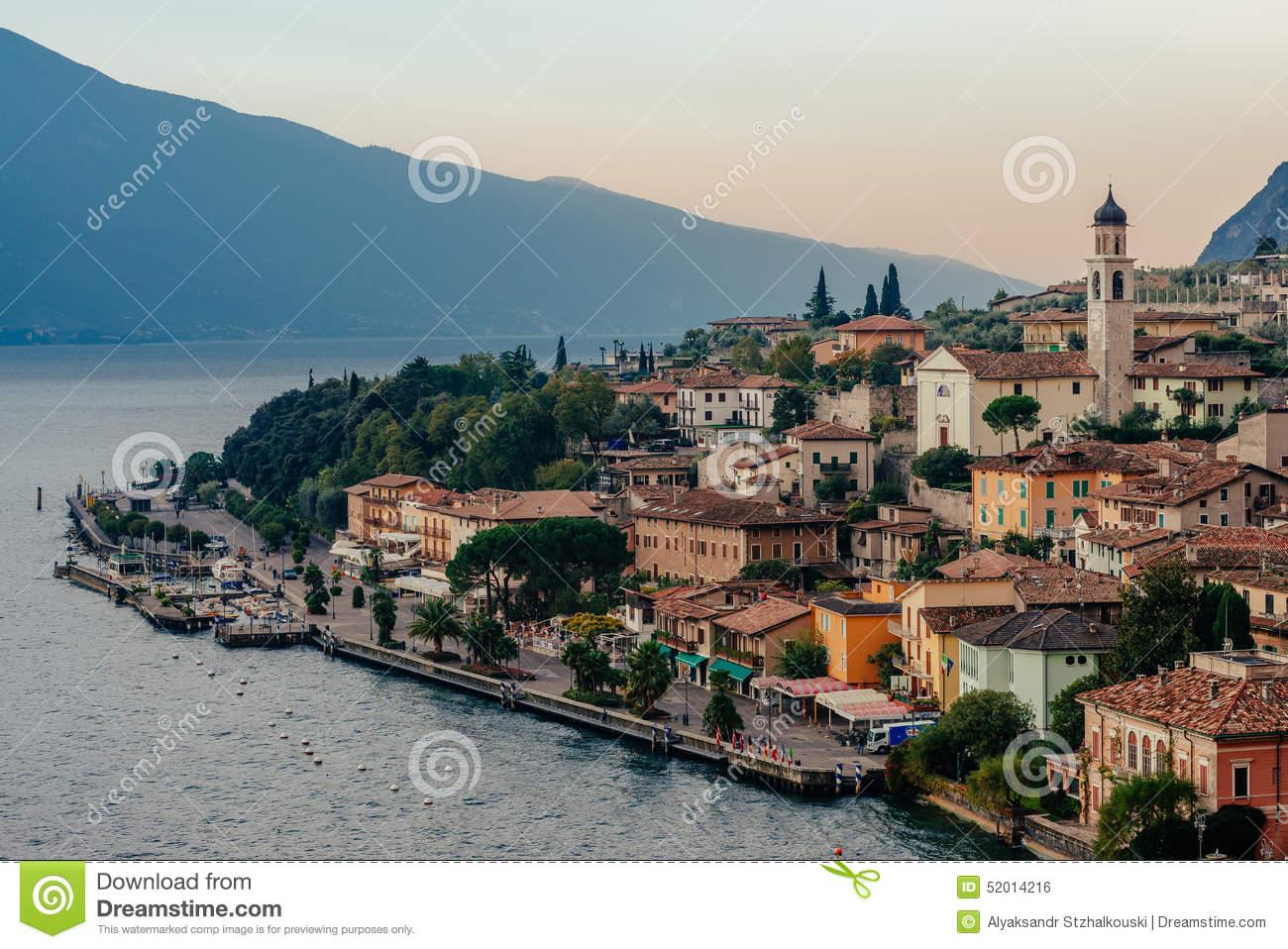 Limone Sul Garda, Italy During The Sunrise Stock Photo.