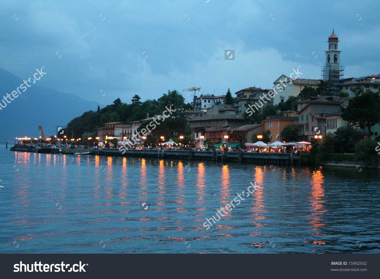 Italy. Lake Garda. Limone Sul Garda Town. Evening Stock Photo.