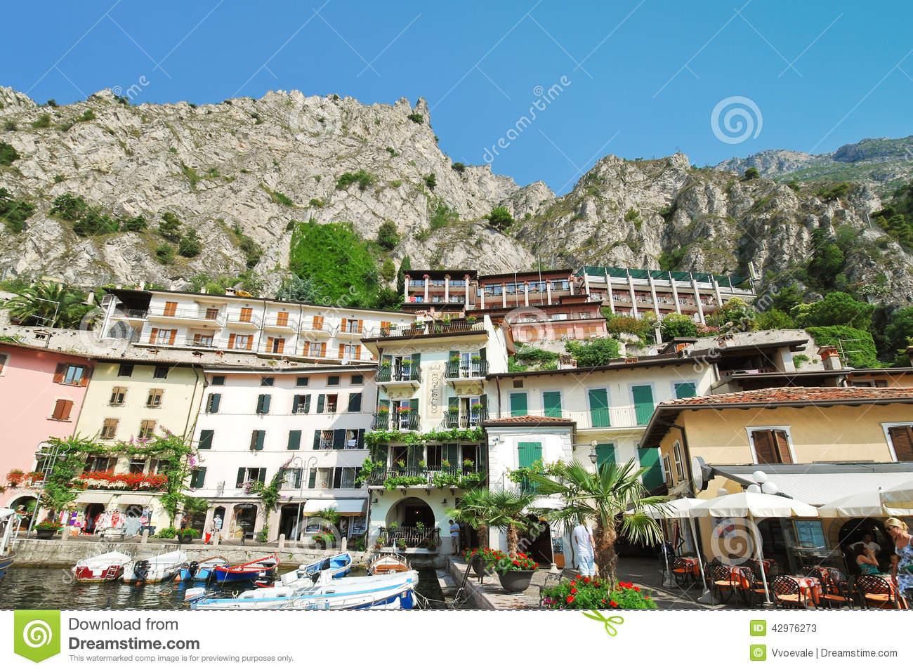 Urban Center Of Town Limone Sul Garda, Lake Garda Editorial Stock.