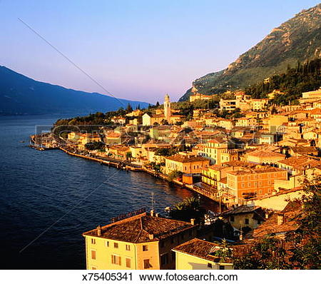 Stock Photography of Italy,Lombardy,Limone sul Garda, view over.