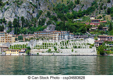Stock Photo of Garda Lake, Riviera dei Limoni, Italy. Limone sul.