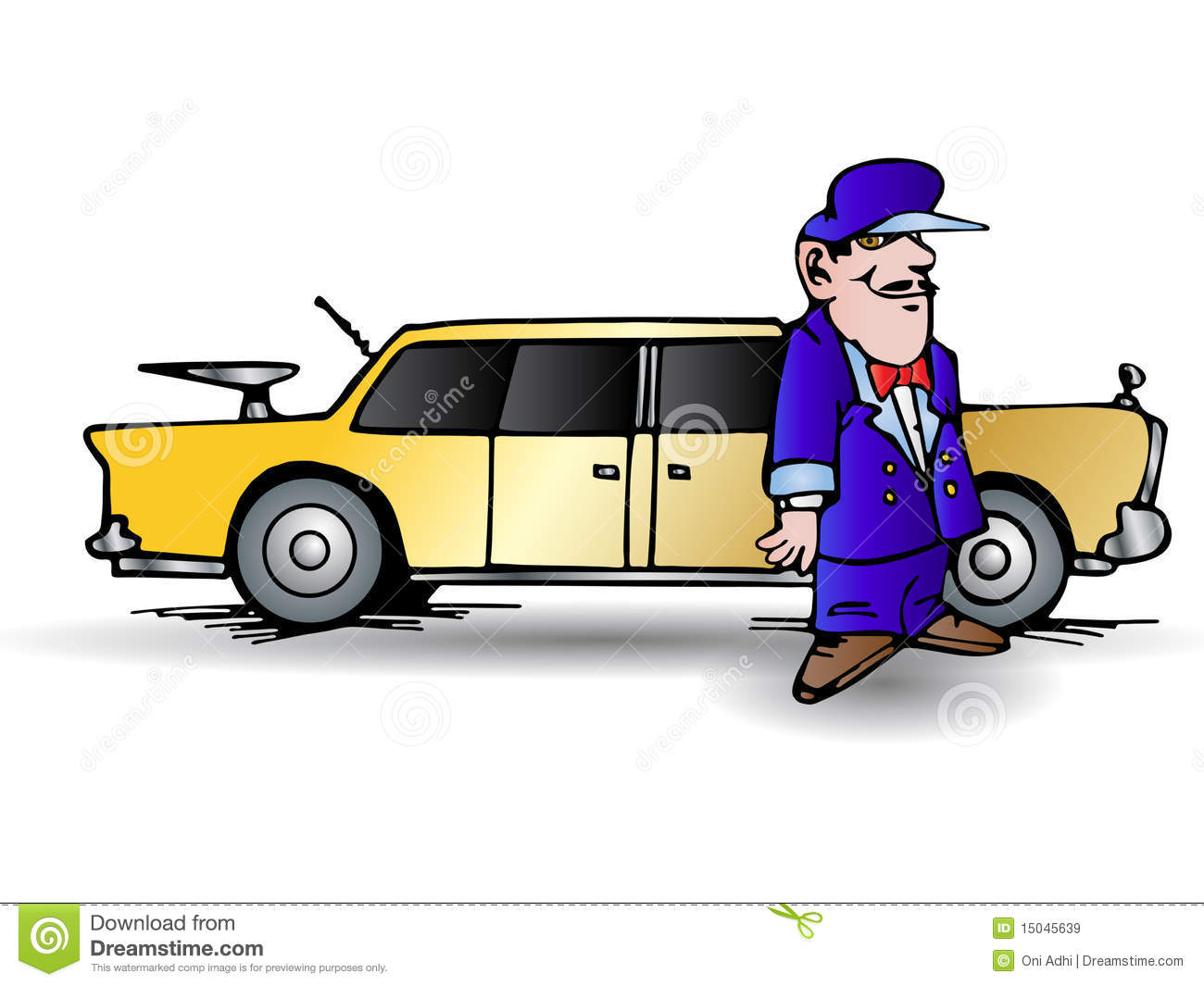 Man driving limo clipart.