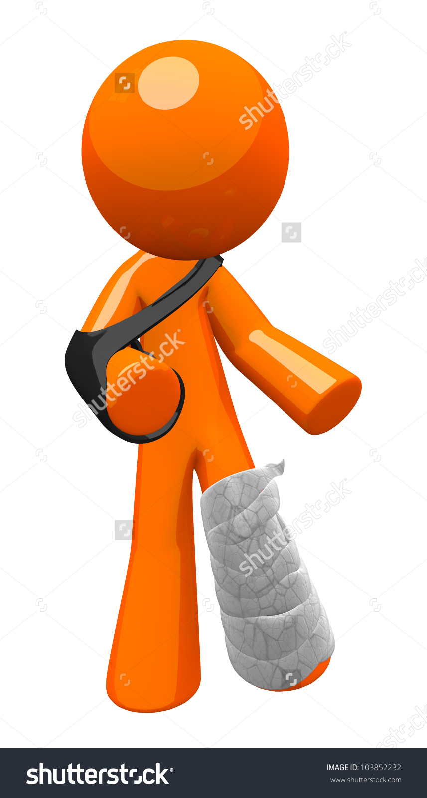 Orange Man Cast Sling Limping About Stock Illustration 103852232.