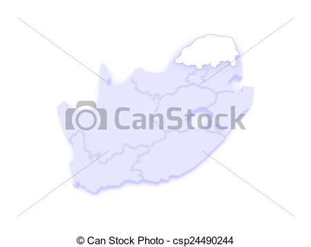 Drawing of Map of Limpopo (Polokwane). South Africa. 3d.