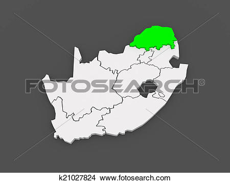 Drawings of Map of Limpopo (Polokwane). South Africa. k21027824.