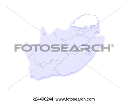 Drawings of Map of Limpopo (Polokwane). South Africa. k24490244.