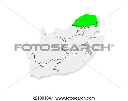 Stock Illustration of Map of Limpopo (Polokwane). South Africa.
