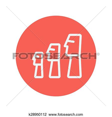 Clipart of Three wooden statue thin lin icon k28950112.