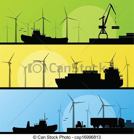Vector Clip Art of Wind electricity generators and windmills lin.