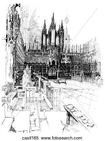 Stock Illustration of The Choir Stalls, Lincoln Cathedral, England.