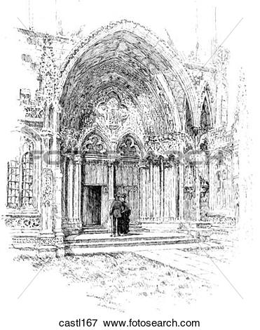 Stock Illustration of The South East Porch, Lincoln Cathedral.