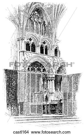 Drawings of One Bay of the Angel Choir, Lincoln Cathedral, England.
