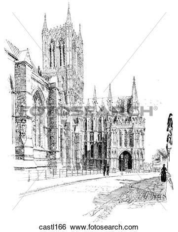 Stock Illustration of The Central Tower and the Gallilee Porch.