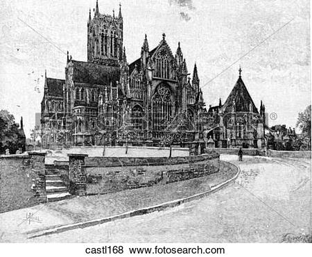 Stock Illustration of The East End and the Chapter House, Lincoln.