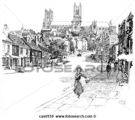 Side Of Lincoln Cathedral England Fotosearch Search Vector Clipart.