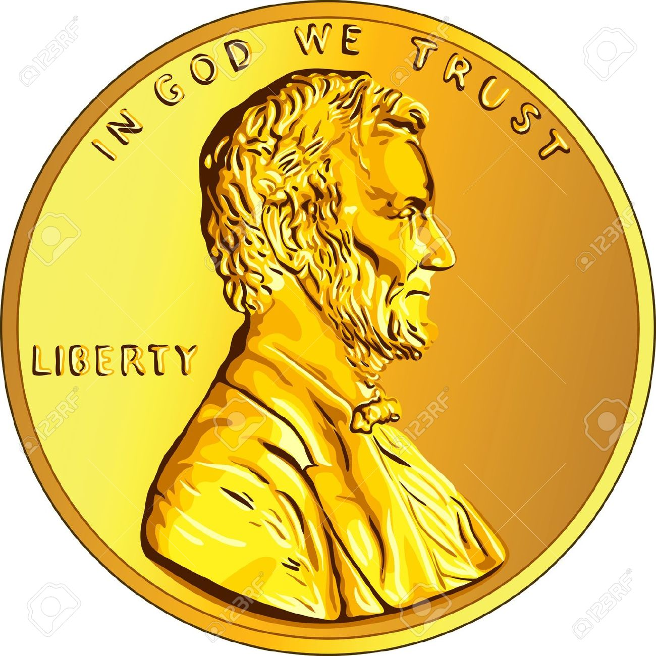 American Money, One Cent Gold Coin With The Image Of The Lincoln.
