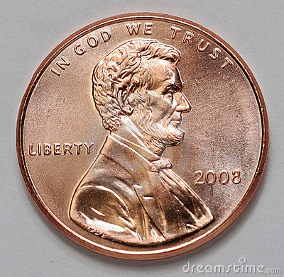 US Lincoln Penny Stock Photo.