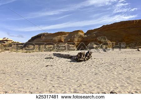 Clipart of Oregon coast Lincoln City beach erosion. k25317481.