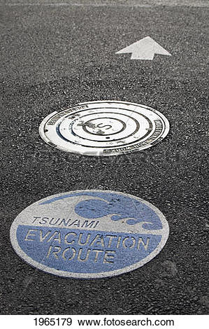 Stock Photograph of tsunami warning signs on the road with arrow.