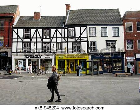 Stock Photo of Lincoln city with a tourist woman, Linconshire.