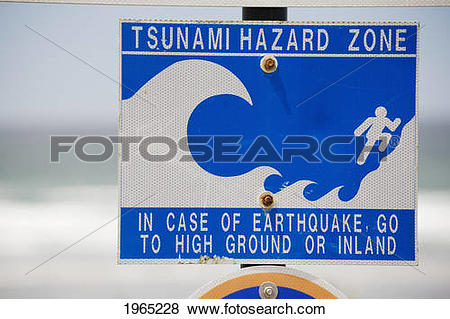 Pictures of tsunami warning sign with the ocean in the background.