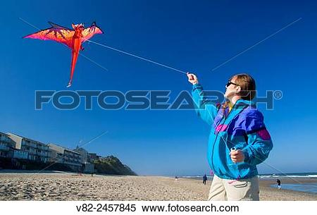 Stock Image of Kiteflying, Dee River State Park, Lincoln City.